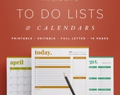 Calendars & To Do Lists – Editable, Daily, Weekly and Monthly Planners, Scheduling, Docket, Printable Planner  //  Household PDF Printables