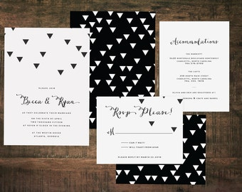 Printable Black and White Wedding Invitation Suite   Wedding Set, Invitation Set, Black, White, Modern Wedding