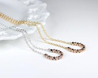 Lucky Horseshoe Necklace Minimal Rose Gold Swarovski Pearl Necklace