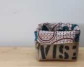 Upcycled Coffee Sack and African Wax Print Storage Basket Small