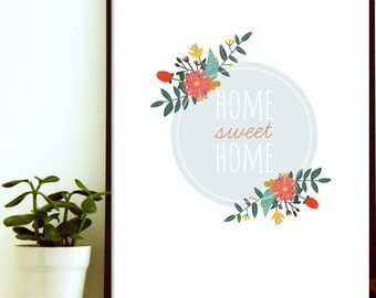 home sweet home print - house warming gift - house warming present - modern kitchen art - kitchen wall art decor - kitchen wall art print