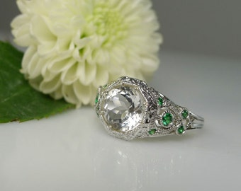 Conflict Free Ring, Diamond Alternative, Herkimer Diamond, Art Deco Ring, Emerald Ring, Antique Style Ring, Art Deco Rings, Engagement Ring