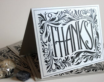 Thanks!: Silver Metallic folded greeting card