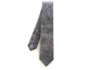 Grey Textured Cotton Necktie