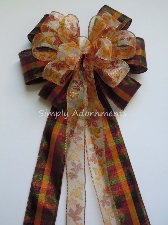 Fall Plaid Wreath Bow Thanksgiving Wreath Bow Fall Autumn Leaves Bow Country Plaid Fall Wedding Pew Bow Fall Ceremony Decor Bow Door Hanger