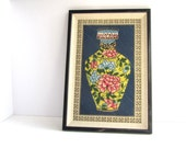Embroidered Oriental Vase Chinoiserie Chic Wall Art
