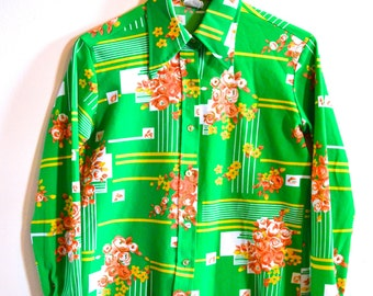 Rad 1970s Polyester Lime Green Button Up Blouse