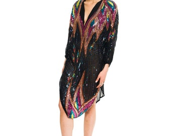 1970s Vintage Sequins and Silk Tunic Dress Size: S/M/L/LX
