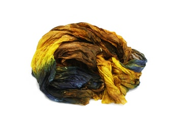 silk scarves,  hand dyed silk scarf, silk scarf - Fall Desire  - yellow, brown, blue silk scarf.