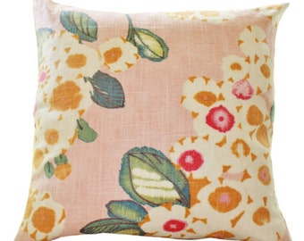Reserved for Jana Only Front & Back 22 x 22  MOTIF PILLOW Decorative Pink Pillow - Floral Pink Fuchsia Ivory Teal Orange Pillow Cover