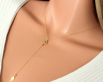 Evil Eye Hamsa Necklace 14kt Gold Filled Rosary Style Womens Girls Kabbalah Necklaces Protection