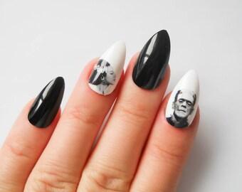 Frankenstein Stiletto Nails, Fake Nails, Frankenstein, Bride of Frankenstein, Gothic Nail Art, False Nails, Acrylic Nails, Goth