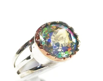 Women's Rainbow Fashion Ring 9k Gold 925 Silver New Craft Size 5 6 7 8 9 9ct , rainbow silver ring, rainbow silver jewelry, silver band ring