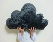 Dark Grey Gray FLUFFY CLOUD Pillow Cushion Faux Fur soft and fluffy Baby Nursery Kids Childrens Room Home Decor decoration
