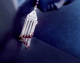 Vintage style gypsy earrings, kuchi earrings, Garnet earrings, boho earrings, gypsy jewelry, statement earrings, tassel earrings, Victorian