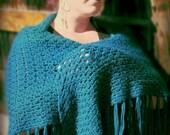 Large Crocheted Gypsy Shawl with Fringe