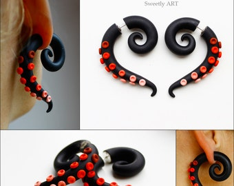 Faux gauge, fake gauges, ear plugs, tentacle earrings, octopus earrings, black tribal, gothic style, punk, festival earrings, red gauges