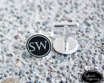 Personalized Initial Cufflinks - Custom Engraved Men's Wedding Gift - Two Tone Cuff Links - CF-01