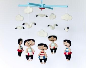 Nautical Baby Mobile, Baby Boy Mobile, Blue Mobile with Mustache Sailors, Nursery Decor