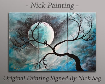 "Expressionist Three panel Abstractpainting Contemporary love wall Decor - Love in the Moonlight - By Nick Sag 36"" x 24"""