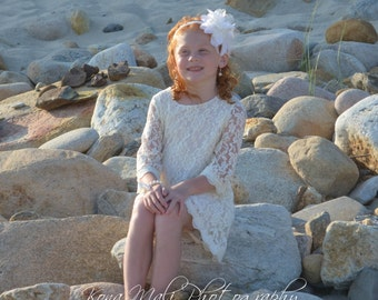 Autumn - Cream/Ivory Lace Flower Girl Dress, Girl dress for infants, toddlers and girls sizes, 1T,2T,3T,4T,5T,6,7/8,9/10,11/12,13/14