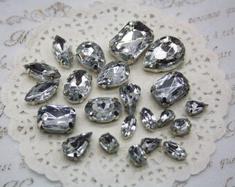 mix lot 16pcs sew on rhinestone bead clear white jewellery teardrop round  marquise rectangle scrapbook sewing flat back facet gem sparkling 7d1ad045ada5