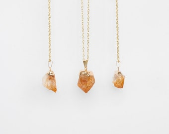 Citrine Necklace / gold plated raw quartz necklace