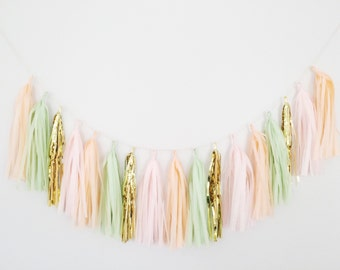 Peach and Green Tassel Garland- Peach Party Decor, Peach Tassel Garland, Peach Wedding Decor, Mint Green Garland, Peach and Mint Decor