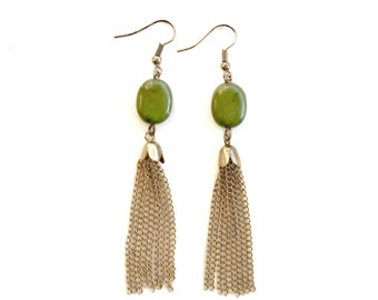 Green and Gold Vintage Dangles Earrings