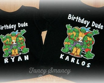 Personalized Toddler TMNT Inspired Teenage Mutant Ninja Turtles Birthday Party Shirt 1st 2nd 3rd 4th Custom Name Age