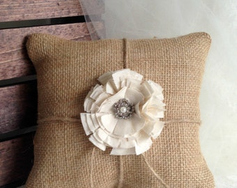 "Ring bearer pillow rustic wedding burlap ring bearer pillow Wedding ring pillow 8"" x 8"""