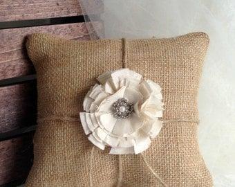 "Ring bearer pillow rustic wedding burlap ring bearer pillow Wedding ring pillow 8"" x 8"""