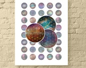 "Cosmic Flower of Life / 1"" Circle Digital Collage Sheet / Sacred Geometry, New Age Art, Round Galaxy Images // Printable, Instant Download"