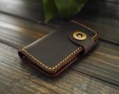 Mens Leather Key Wallet , Custom Leather Key Holder , Engraved Leather Key Case , Hand-Stitched Leather Key Holder , Minimalist Key Wallet