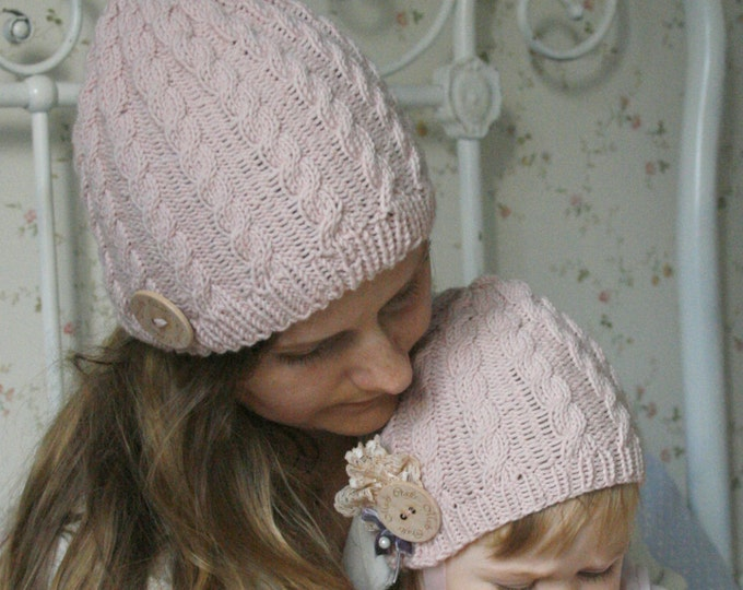 KNITTING PATTERN for cable hat Rose (baby to adult sizes)