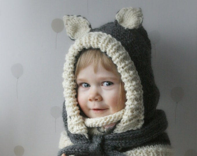 KNITTING PATTERN cat hood and cowl set Simba (baby, toddler, child, adult sizes)