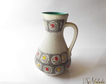 Jasba henkel vase, Jasba 218-18, WGP handled vase, W Germany pitcher, German pottery jug, Spiral pattern, Yellow dots, Red dots, Fat lava