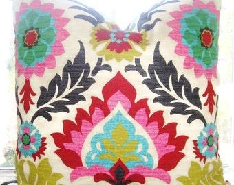 "Designer Pillow-Botanical Damask - Multi Color Floral Pillow Cover -20""x20""-Desert Sun flower-Accent Pillow Cover"