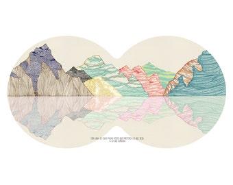 vintage educational poster mountains - cotton canvas print - 70x50 cm