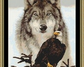 Eagle And Wolf Counted Cross Stitch Pattern in PDF for Instant Download