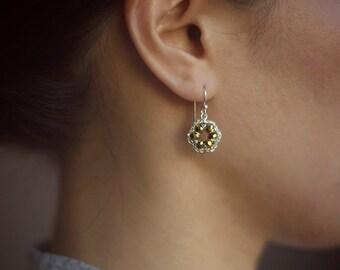 SILVER & BRONZE small dangle earrings / sterling silver earrings / handmade jewelry gift
