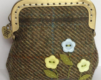 Green Tweed hand embroidered purse