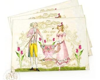 Marie Antoinette, romantic couple, vintage style high tea invitations, a set of 4