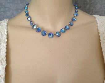 1930s Deco Gatsby Czech Open Back Crystal, Iridescent Blue Necklace, Bridal - Stunning Graduated Stones