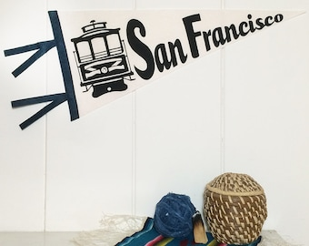 San Francisco Pennant Silkscreen on Cream Wool Felt