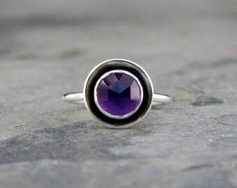 Rose Cut Purple Amethyst Halo Ring, Sterling Silver, Violet Purple, Jewel Statement Ring, Faceted Gem