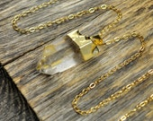 Crystal Necklace, Crystal Pendant Necklace, Crystal Gold Necklace, Clear Crystal Point Necklace, 14k Gold Fill Chain