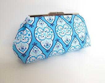 Blue white clutch, summer clutch, blue clutch, blue white purse, blue print clutch, resort clutch