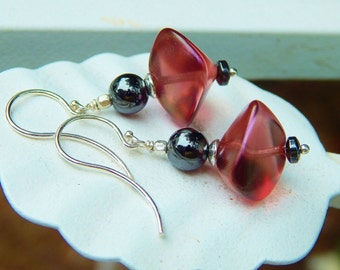 """Black Rose Earrings - Lustrous Czech Glass """"Wonky"""" Beads, Vintage Hematite Beads &bArgentium French Wires / Proceeds Aid Kids with Autism"""
