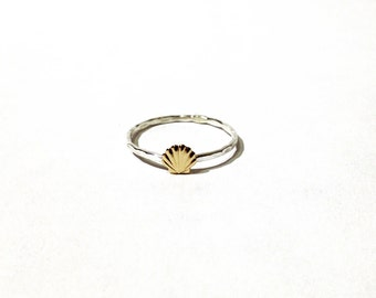 Seashell ring - Sterling silver and tiny gold brass seashell ring - stacking ring - knuckle ring - midi ring